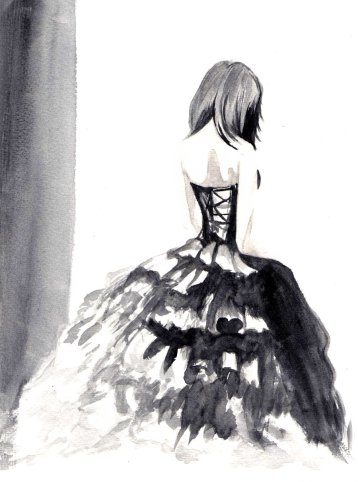 black_dress_girl___watercolor_by_israelbriones-d4vq70f